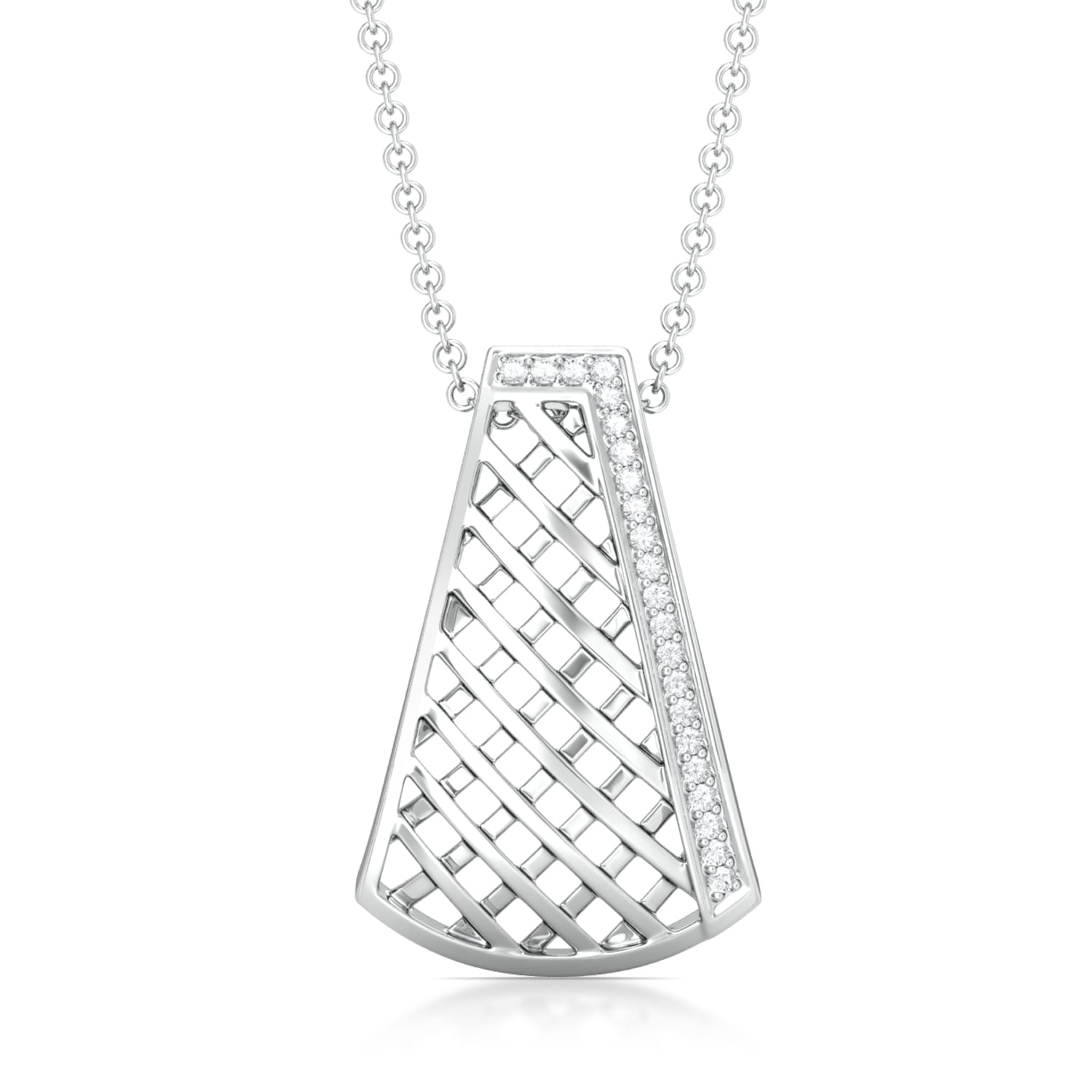 Cross-Hatch Diamond Pendants