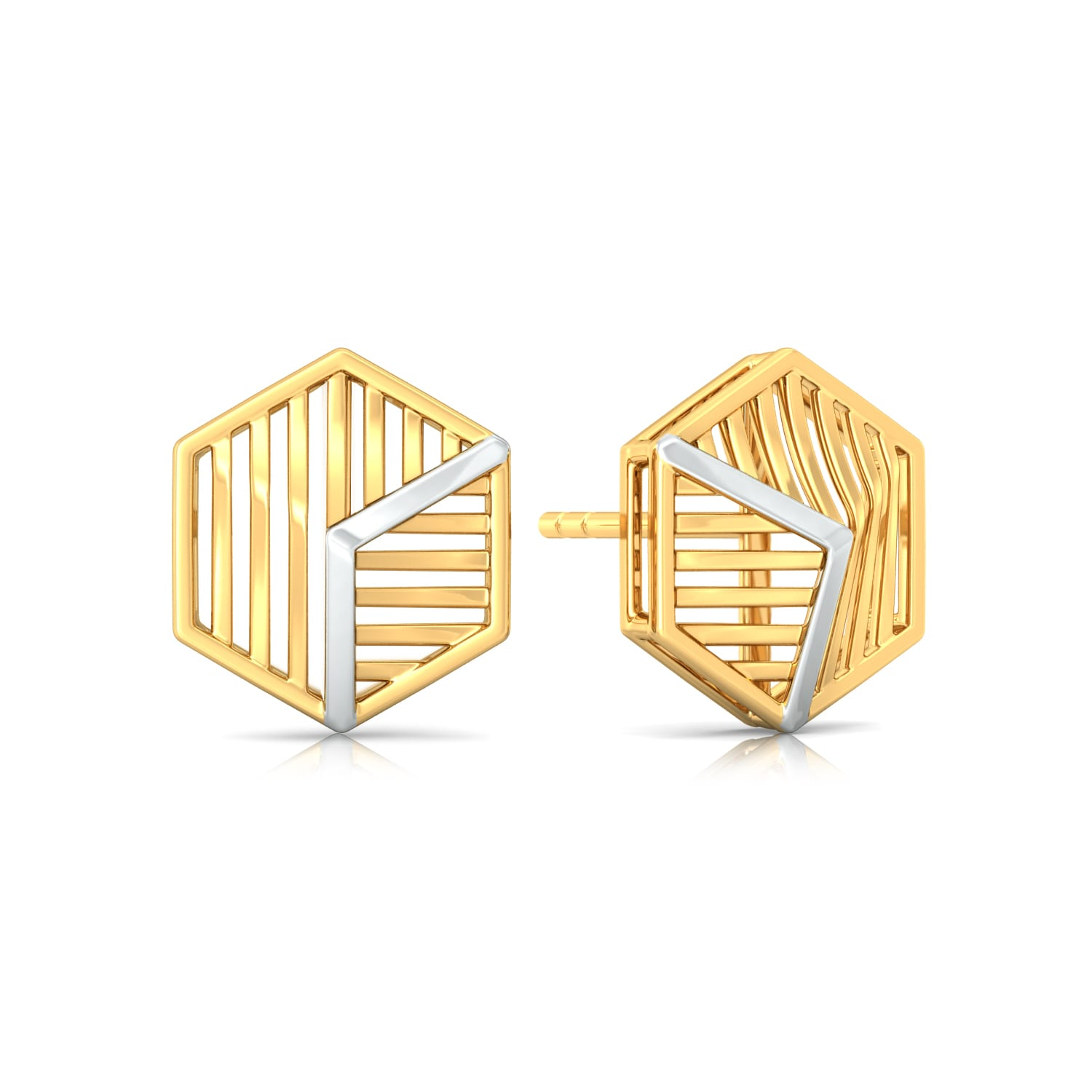Hexa-Face Gold Earrings
