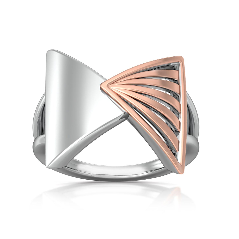 Triangular Drift Gold Rings