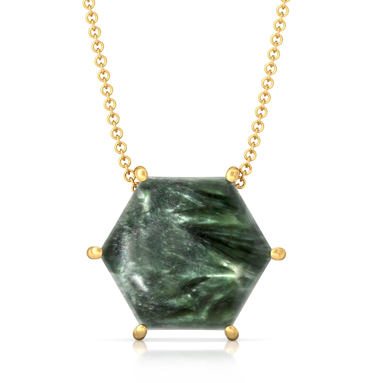 Hexa-Seraphinite  Gemstone Pendants