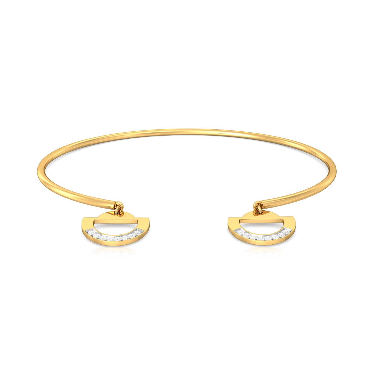 Tubular Slice Diamond Bangles