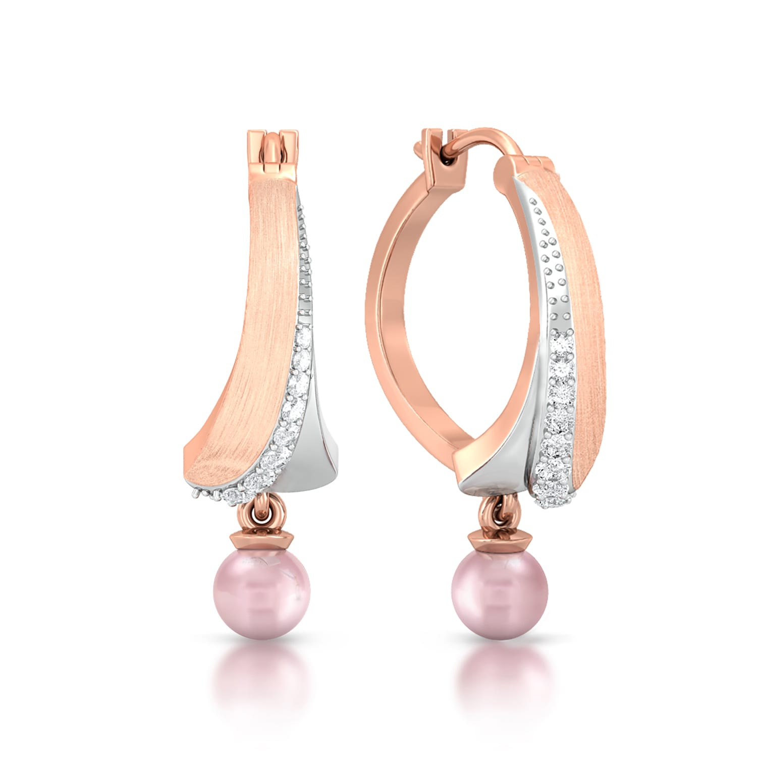 Pearly pink Diamond Earrings