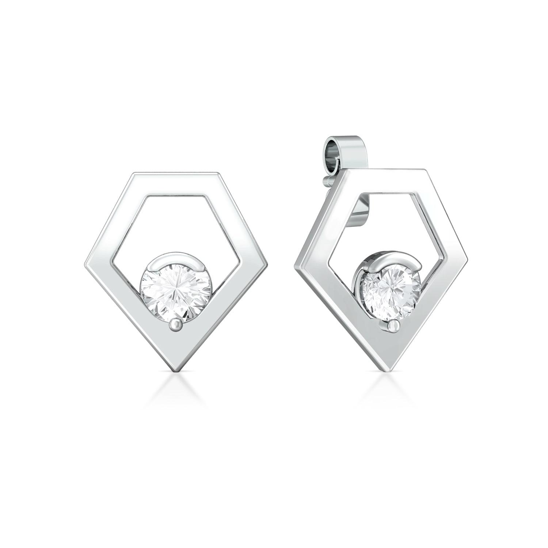Pointy Penta Diamond Earrings