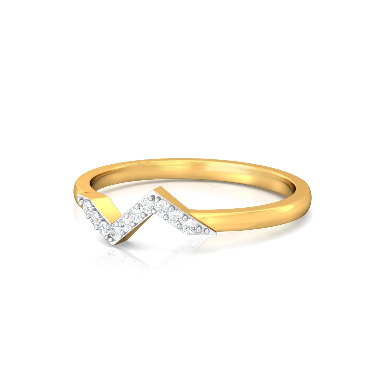 Chevron Bolts Diamond Rings