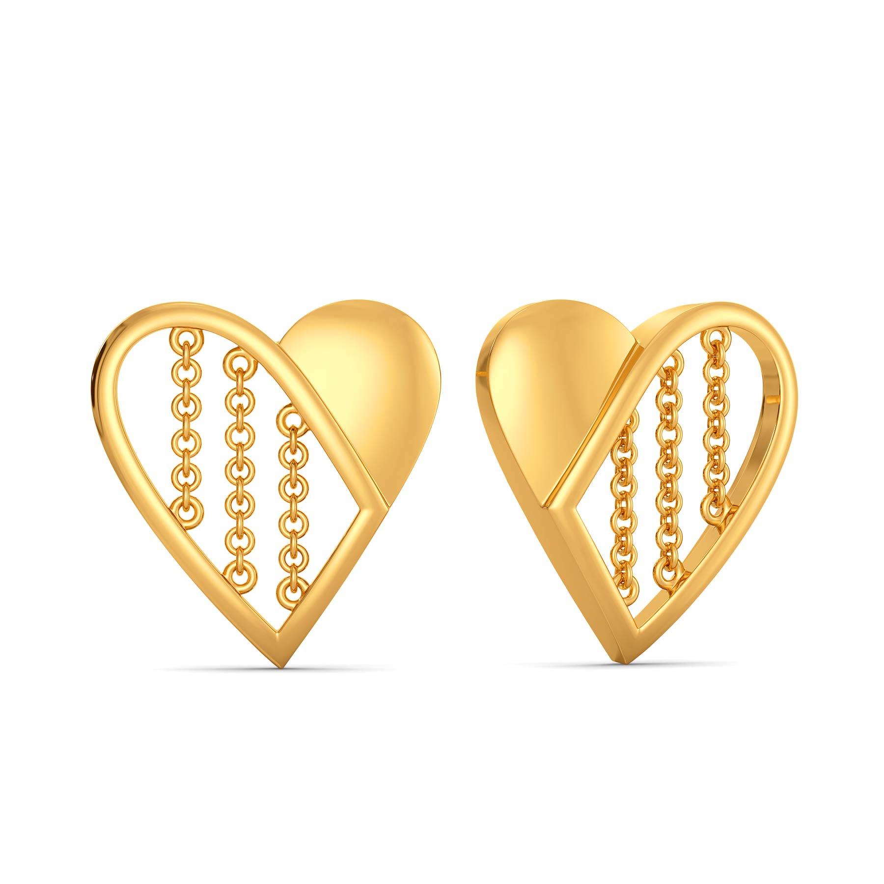 Half of My Heart Gold Earrings