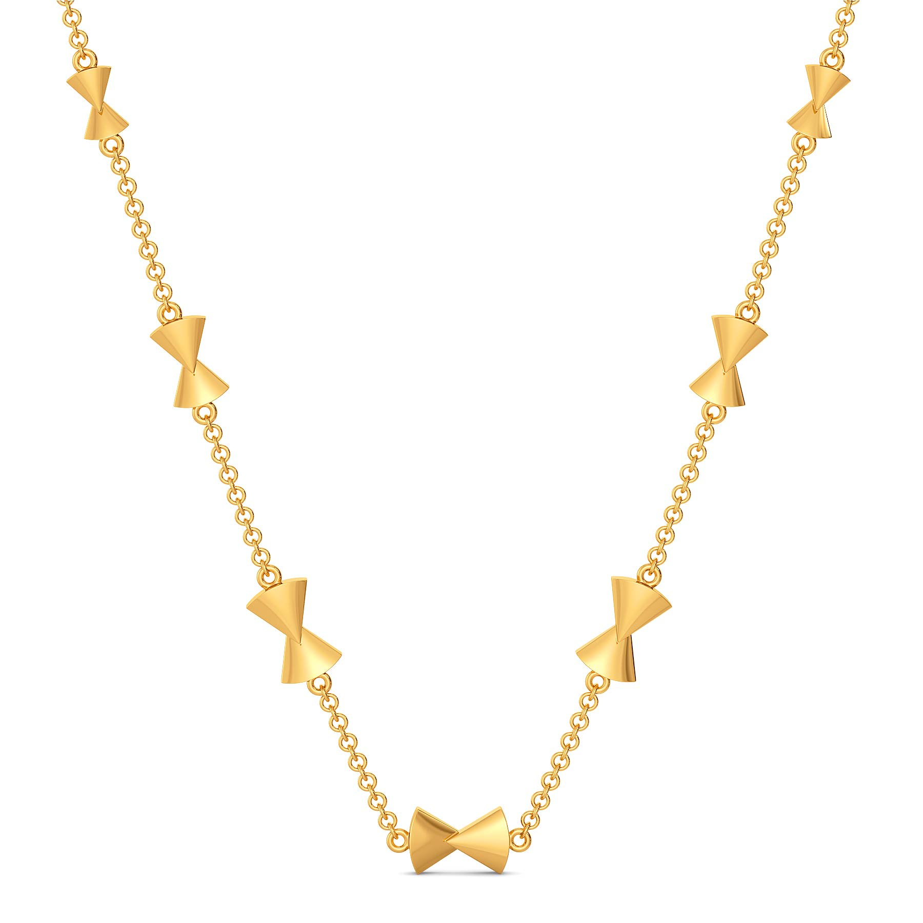 Bow Toned Gold Necklaces