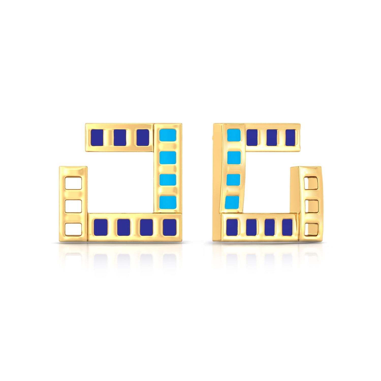 Parallel Ribbing Gold Earrings