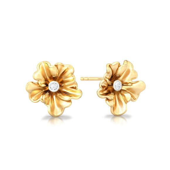Yellow Carnation Diamond Earrings