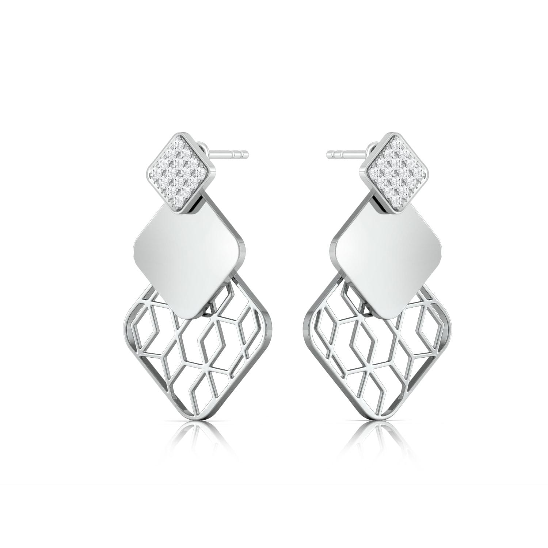 Lattice Lace  Diamond Earrings