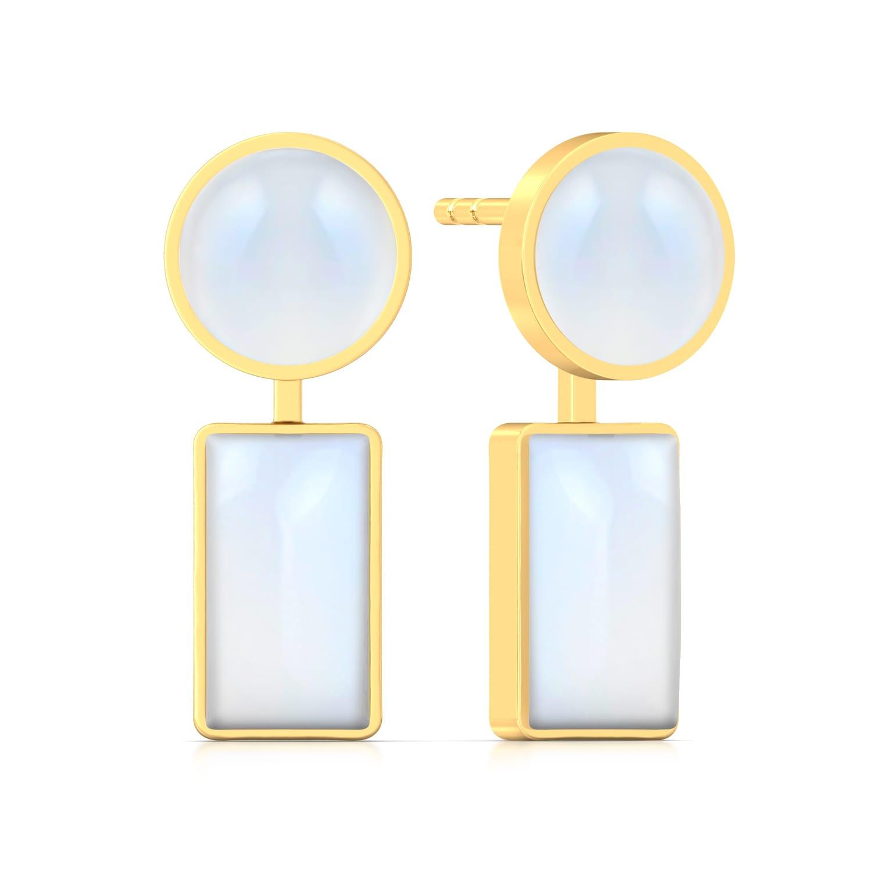 Chic White Gemstone Earrings