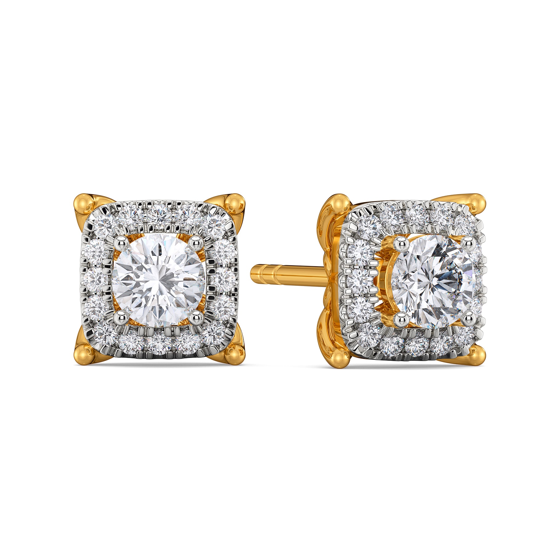 Four Squared Diamond Earrings