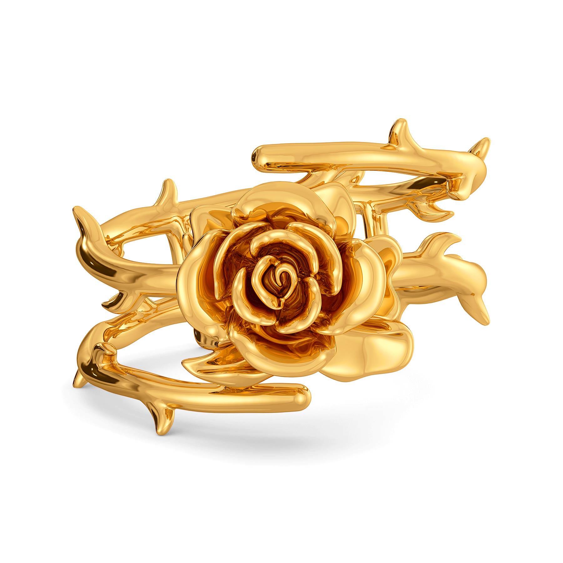 Roses N Thorns Gold Rings