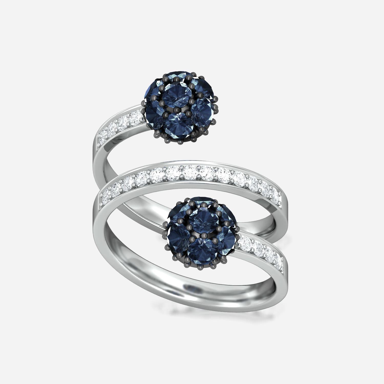 Blue Orb Diamond Rings