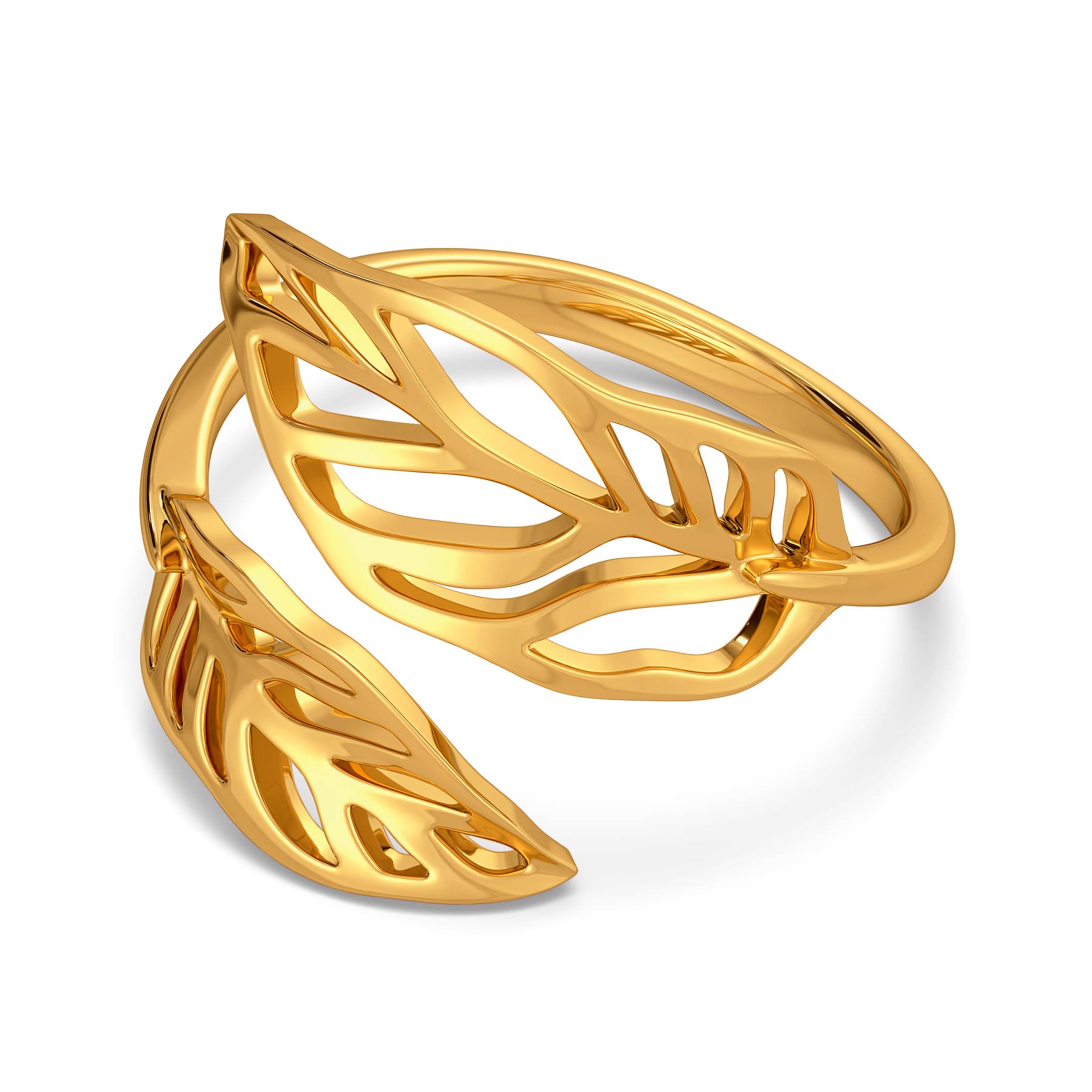 Groove in Feathers Gold Rings