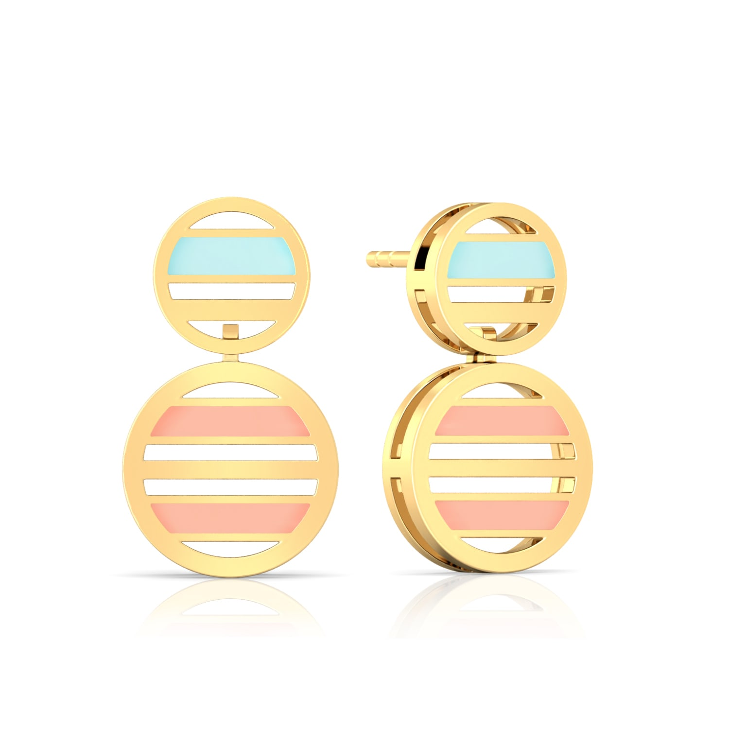 Striped Halo Gold Earrings