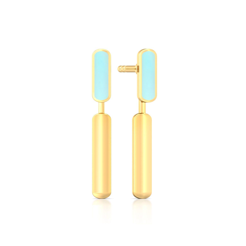 Barcode Gold Earrings