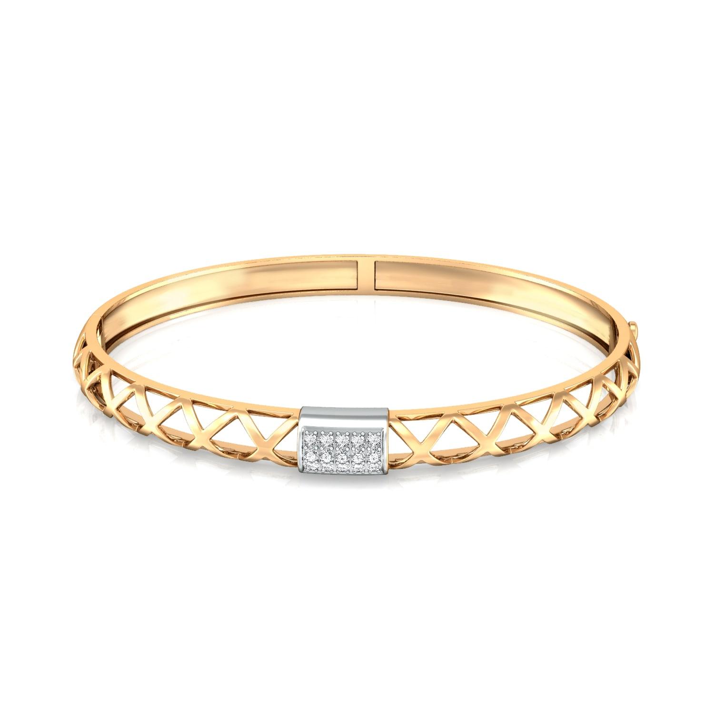 Golden Weave Diamond Bangles