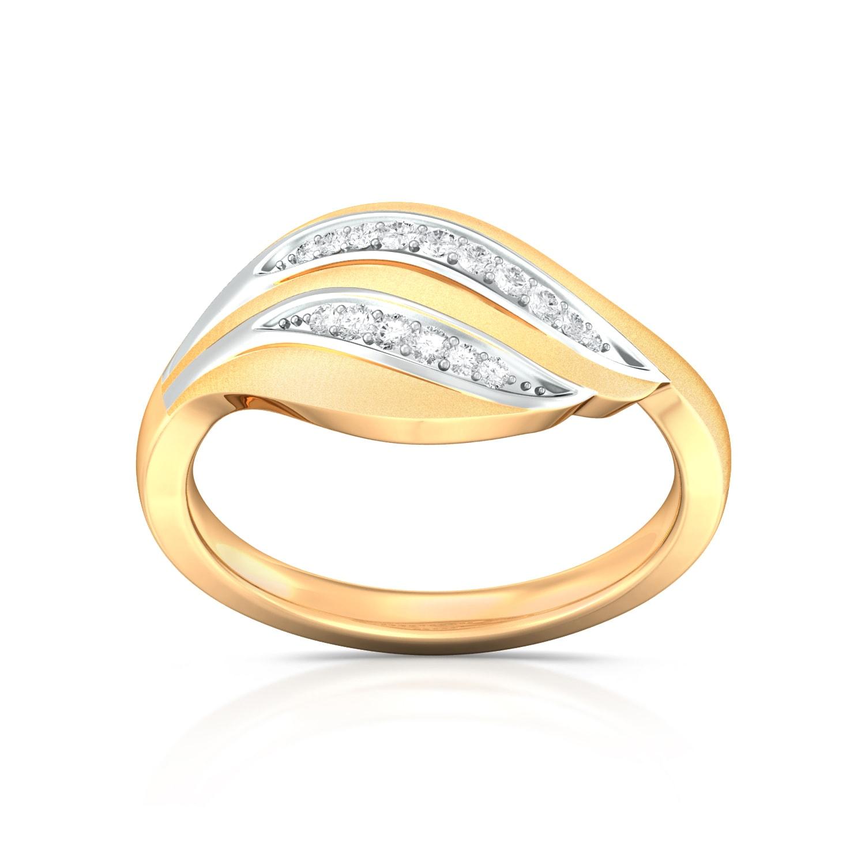 Golden Feather Diamond Rings