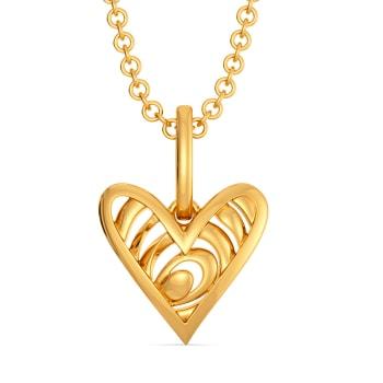 Pining Heart Gold Pendants
