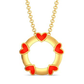 Circle of Hearts Gold Pendants