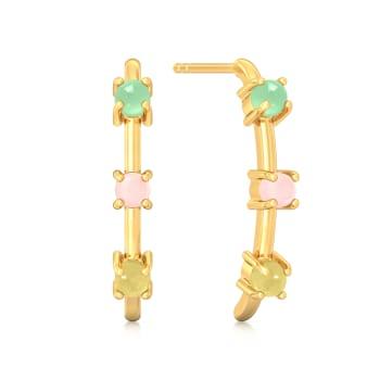 Triple Scoop Gemstone Earrings