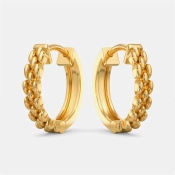 Tweed Links Gold Earrings