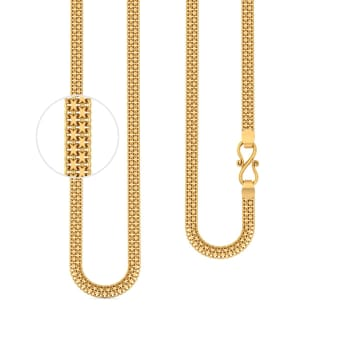 22kt Flat Three Strand Cable Chain Gold Chains