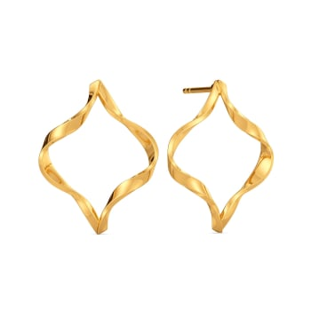 Swirling Strands Gold Earrings