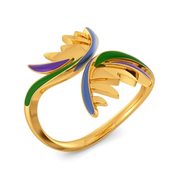 Playful Plumes Gold Rings