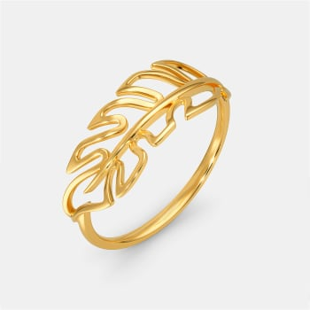 Fancy A Feather Gold Rings