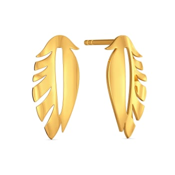 Fab Feather Gold Earrings
