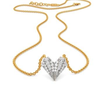 Pleated Hearts Diamond Necklaces
