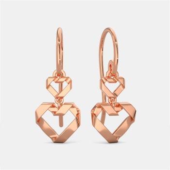 Origami Heart Gold Earrings