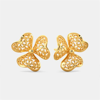 Lacy Blooms Gold Earrings