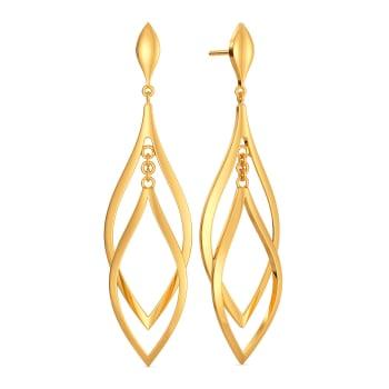 Dusting Leaves Gold Earrings