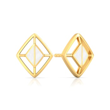 White Swan Gold Earrings