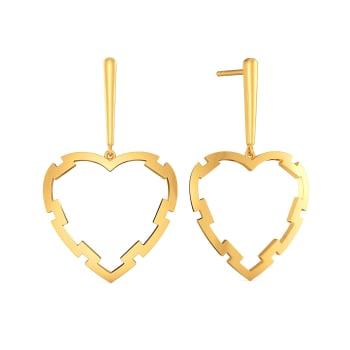 Fantasy Heart Gold Earrings