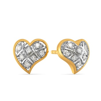 Plaid Date Diamond Earrings