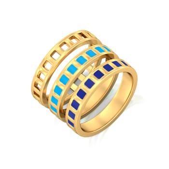 Parallel Ribbing Gold Rings
