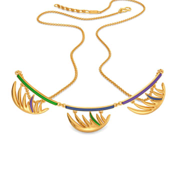 Playful Plumes Gold Necklaces