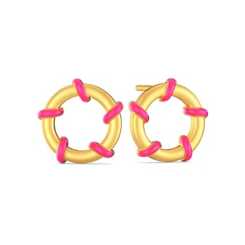 Pink On The Brink Gold Earrings