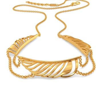 Funky Feathers Gold Necklaces