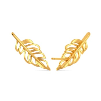 Feather Frizz Gold Earrings