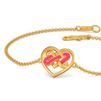 Fluoro Hearts Gold Bracelets