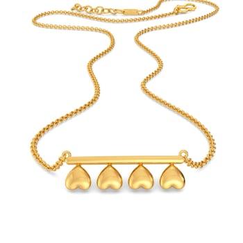 Disco Hearts Gold Necklaces