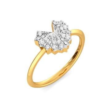 Hearts on Pleats Diamond Rings