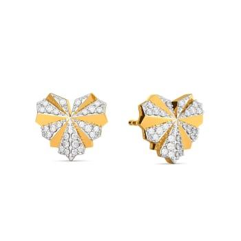 Hearts on Pleats Diamond Earrings