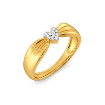 Hearts on Bow Diamond Rings