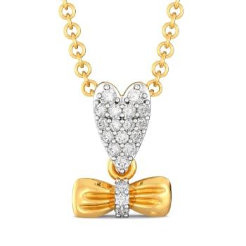 Hearts on Bow Diamond Pendants