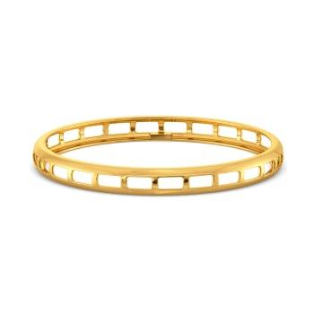 Oblong Cuts Gold Bangles